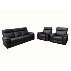 Ann Leather Electric Reclining Lounge Set