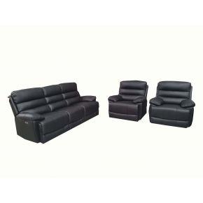 Randolf 3 Piece Electric Leather Reclining Lounge Set